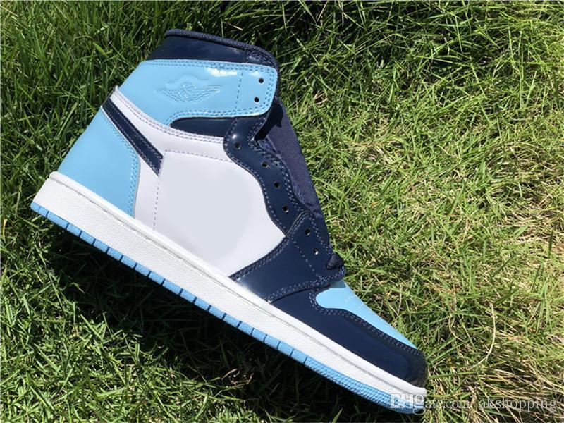 Горячая Аутентичная 1 Обувь High OG WMNS UNC Патентного Basketball для женщин Obsidian Синего Холод Белых лакированной кожи кроссовки с оригинальной коробкой