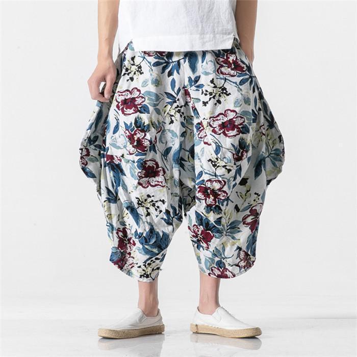 Китайский стиль Мужчины Брюки Summer Девять Очки Цветочные мужские Брюки Брюки Сыпучие вскользь Hip Hop Vintage Streetwear
