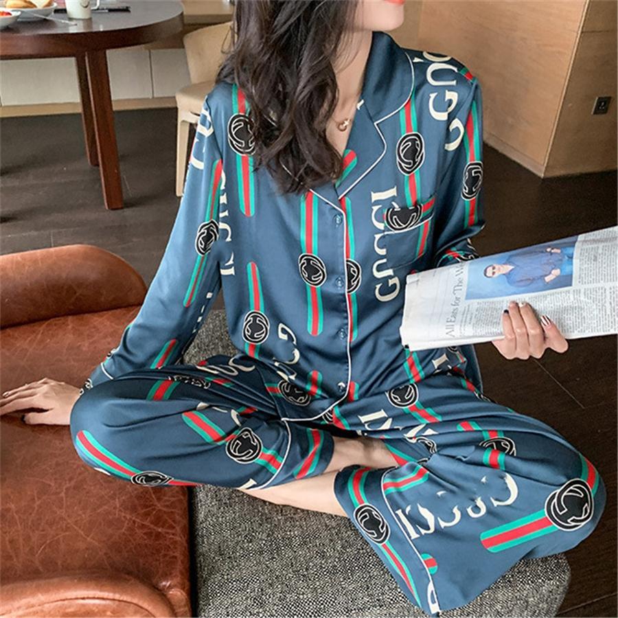 الرجال النساء منامة مجموعة لينة تقليد الحرير التنين القميص طباعة سروال سيدة بيجامة مجموعات للجنسين منامة زهرة مطبوعة ملابس Y200425 # 709