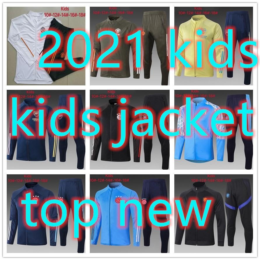 2021 top miúdos novos agasalho agasalho roupas revestimento do hoodie set meninos Futebol 20 21 kits de futebol camisa de futebol treino de futebol terno