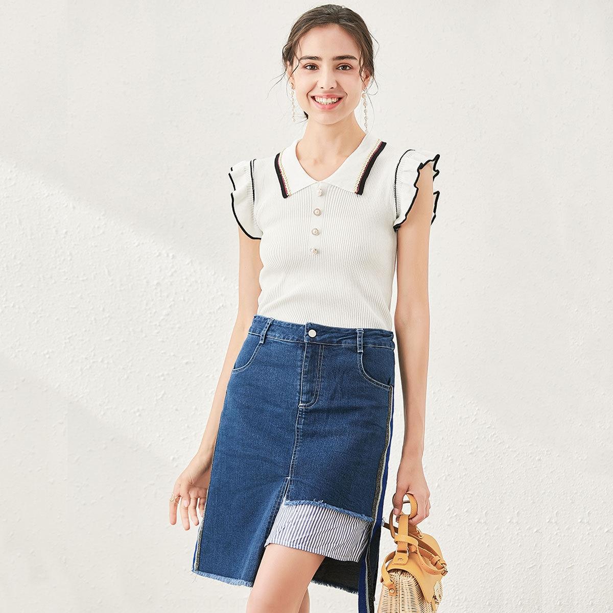 aMkpx N6MCr 123534 + 2020 Estate manica top denim nuova maglia a due pezzi + linea A- skirt suit Jeans età di riduzione skirt suit Feifei