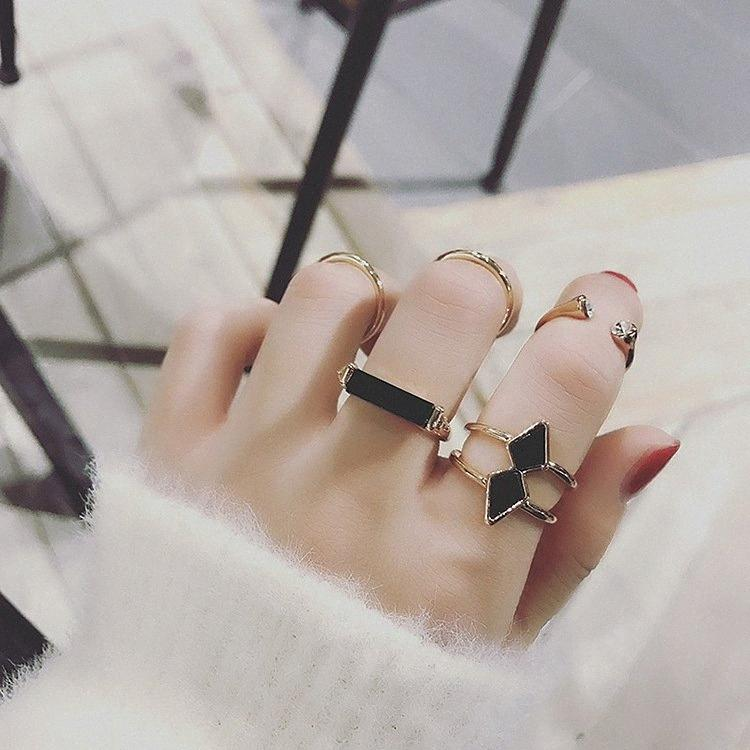 Pfeil koreanische personifizierte japanische Fünf-Stück-Set und Ring-Fünf-teiliges Set Ring Zeigefinger Guan Korean Einfache Female Ring WCA1 #
