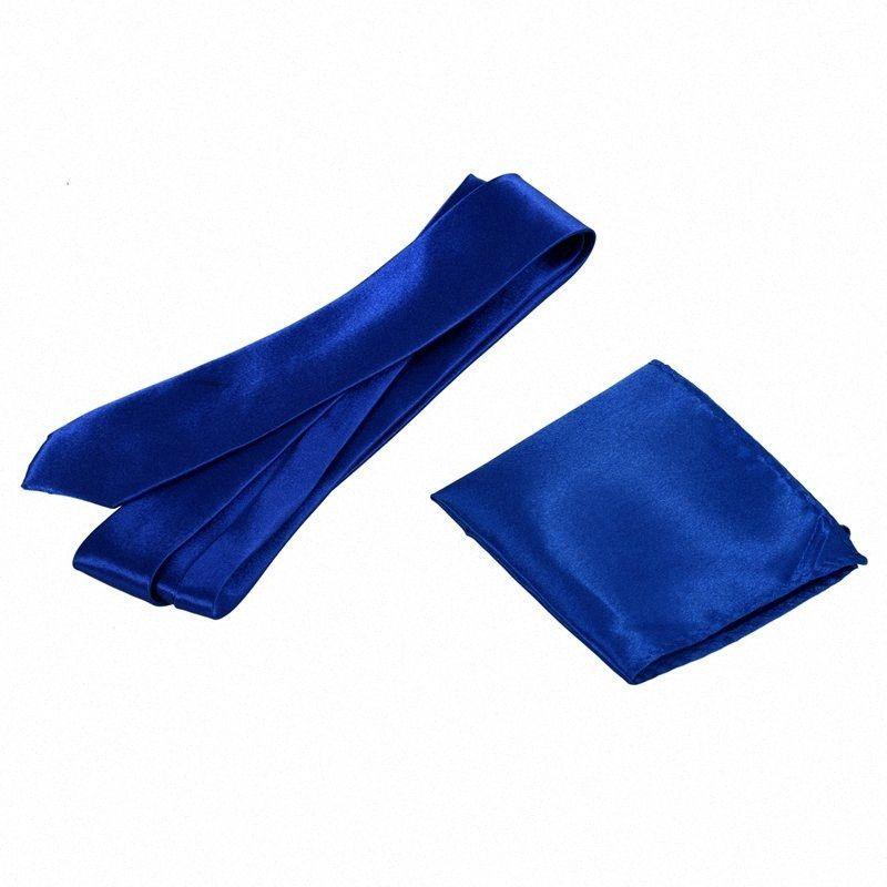 Casual Unisex Cravatta e 8,5 pollici raso Hanky Royal Blue m6CS #
