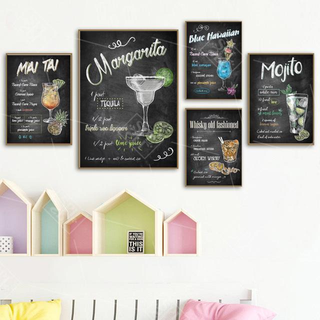 Resumen elaborado por coloridas Cócteles Bebidas Lienzos Posters and Prints Pub decoración de la barra cuadro de la pared Pintura Sin enmarcada