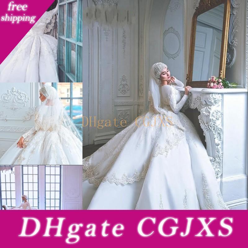 De luxe musulman robes de mariée à manches longues en dentelle de mariée Pure White Robes Dubaï Arabie Saoudite Jewel Neck Robe de Noiva personnalisée Plus Size