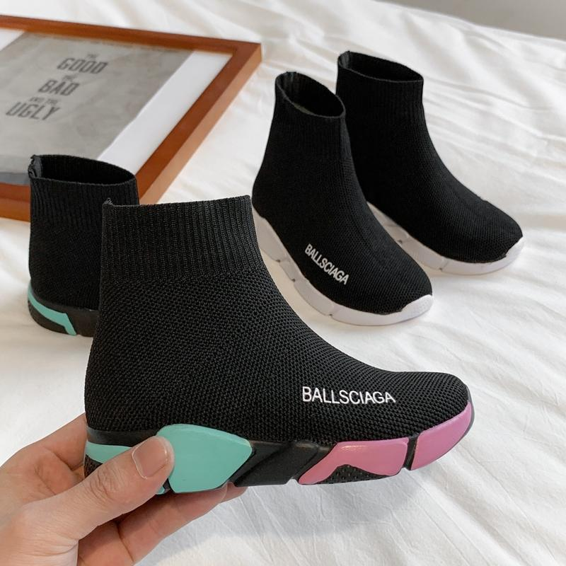 High Top Children Shoes Boys School Shoes Girls Kids Socks Black Designer Girls Boy Sport Running Sneakers Trainers Tenis