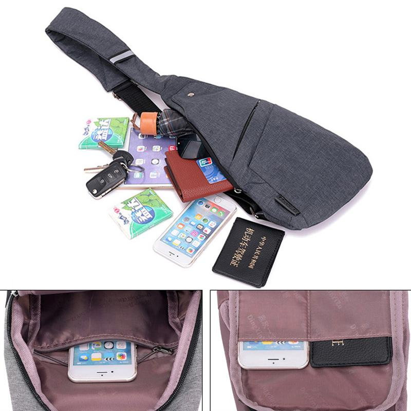 DIENQI Anti-theft Chest Bag Male Thin Chest Pack Holster Men Bag Sling Personal Pocket Pauch Purse Man Cross Body Strap Hand Bag