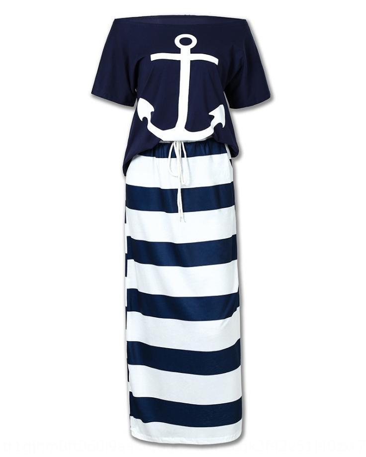 stile blu marino casuale e stampato a maniche corte + set di stile del blu marino casuale T-shirt e gonna stampata T-shirt a maniche corte + skirt SE