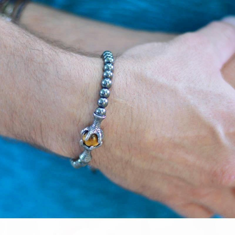 Bracelet Men Natural Stone Bracelets 6mm Hematite Bead With Eagle Braided Rope Adjustable Male Bracelets For Mens Gift Homme 328 C19041703