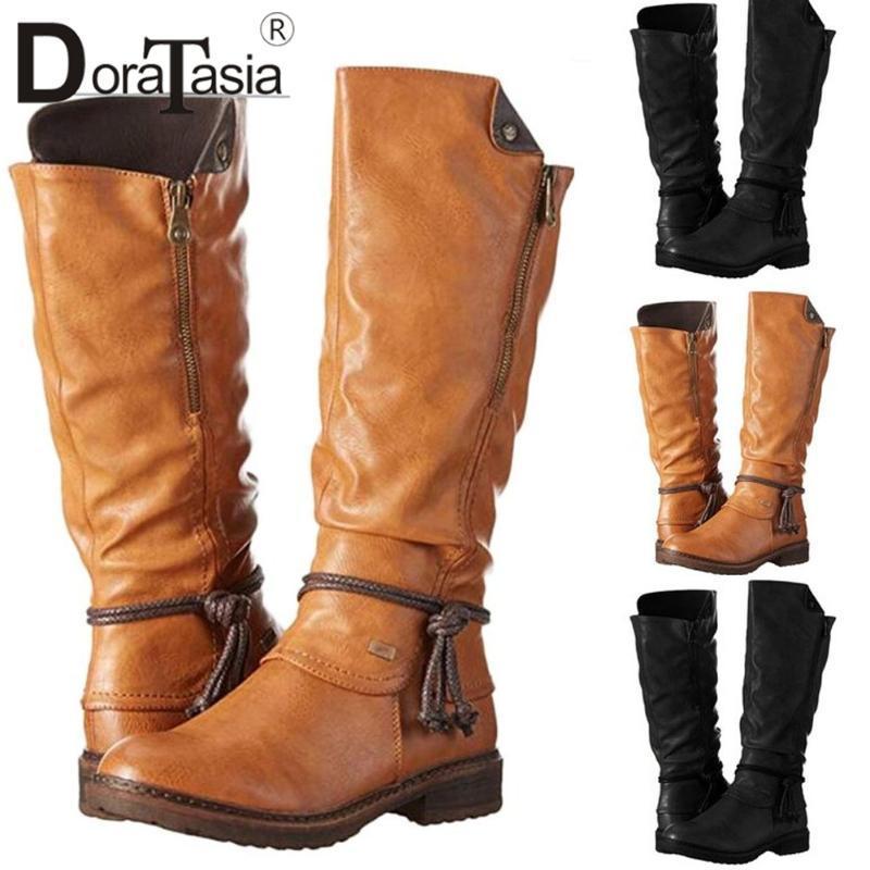 DORATASIA ретро девушки Круглый Toe Brand Зимние сапоги 2020 Металл Boots Женщины Шитье Металл Zipper Низкий каблук Mid теленок обувь женщина