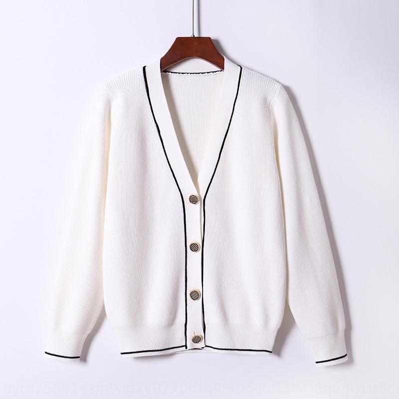 2020 novo estilo ocidental camisola Brasão malha com Outono listrado solta estilo coreano primavera e no inverno camisola malhas do revestimento das mulheres cardigan