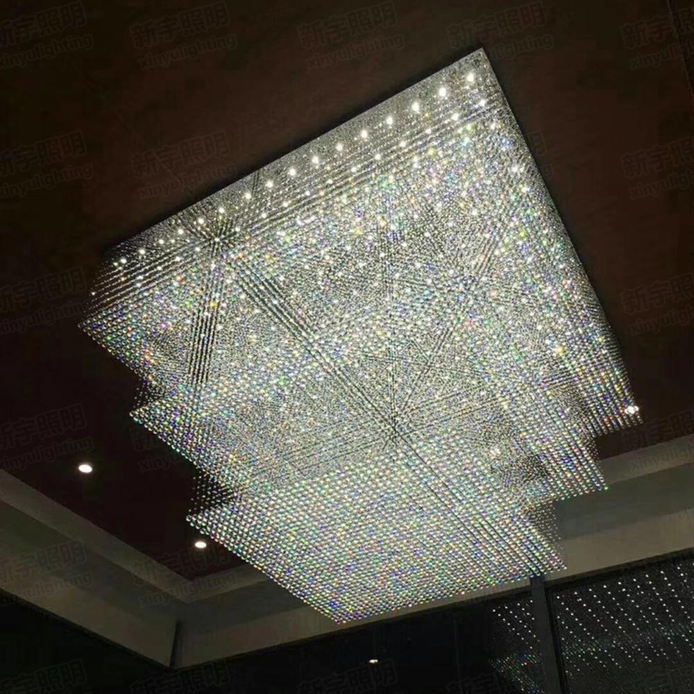 Large Crystal Chandelier Modern Hotel Lighting Ac110v 220v Lustre 3 Tier Led Cristal Ceiling Lamp Foyer Lights