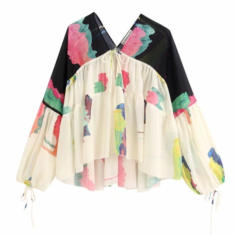 2020 Новое прибытие женщин пэчворк печать случайные кимоно блузок дамы V шеи шик Смок рубашки шифон femininas blusas вершины LS6397 Y200828