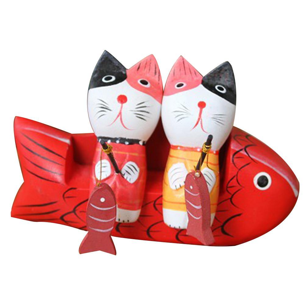 Estatuetas Mostrar dom casal Cats Sala Início Ornamento de madeira pintado