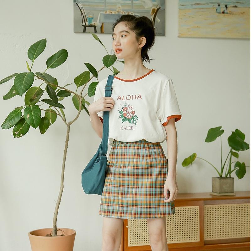 ivNnj 2020 Linha coreano emagrecimento Verão simples elevada nova cintura xadrez A- moda vestido de mulher saia estilo A- saia de linha A-