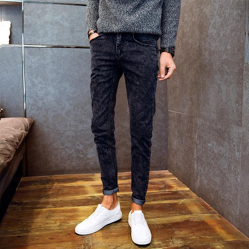 bQFbF Jeans Herren-slim-fit und Jeans Herren-koreanischer Stil Herbst elastische Gamaschen Herbst und Winter gerade Hosen
