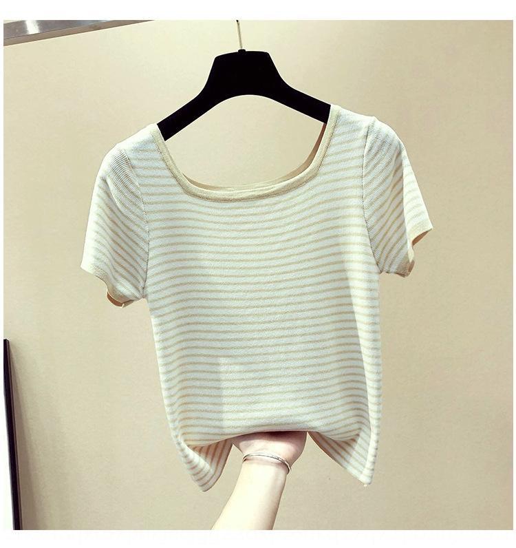 Uoef1 Platz Kragen Kleider- koreanischen Frauen 2019 T-Shirt mit kurzen Ärmeln Art dünne Basis Shirt neue Frühjahr T ins Mode gestreift