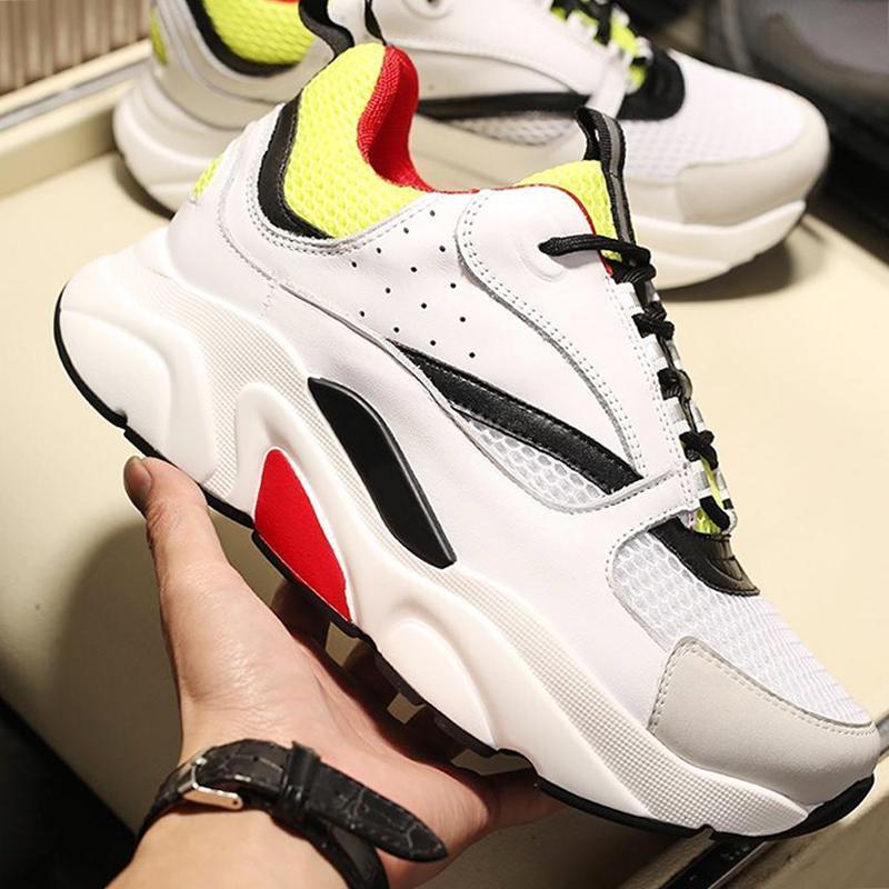 La nueva llegada de los hombres '; s zapatos para caminar B22 Blanco Amarillo Y Negro y lienzos de piel de becerro de la zapatilla de deporte al aire libre nave de la gota Diseño top del punto bajo Chunky Sneake