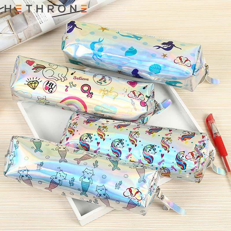 Hethrone a laser bonito unicórnio sereia Caixa de lápis Escrevendo caso bolsa de papelaria Armazenamento suprimentos caligrafia saco criativa Pencil