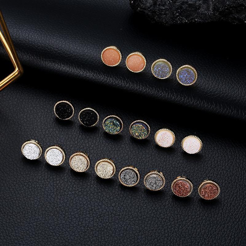 9 Farben Druzy Drusy Ohrstecker Mini Harz-runde Bolzen-Modedesigner-Gold-Schmuck