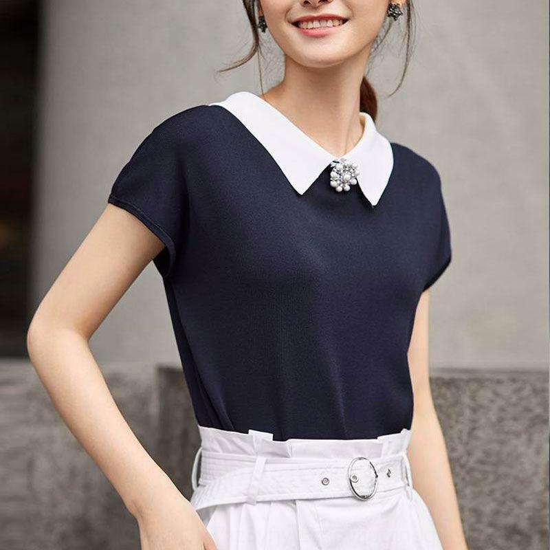 tEx7m v1ckk Professionelle Amash 2020 neue Sommer-Art und Weise europäisches Revers beiläufige gestricktes T-Shirt mit kurzen Ärmeln für Frauen Shirt