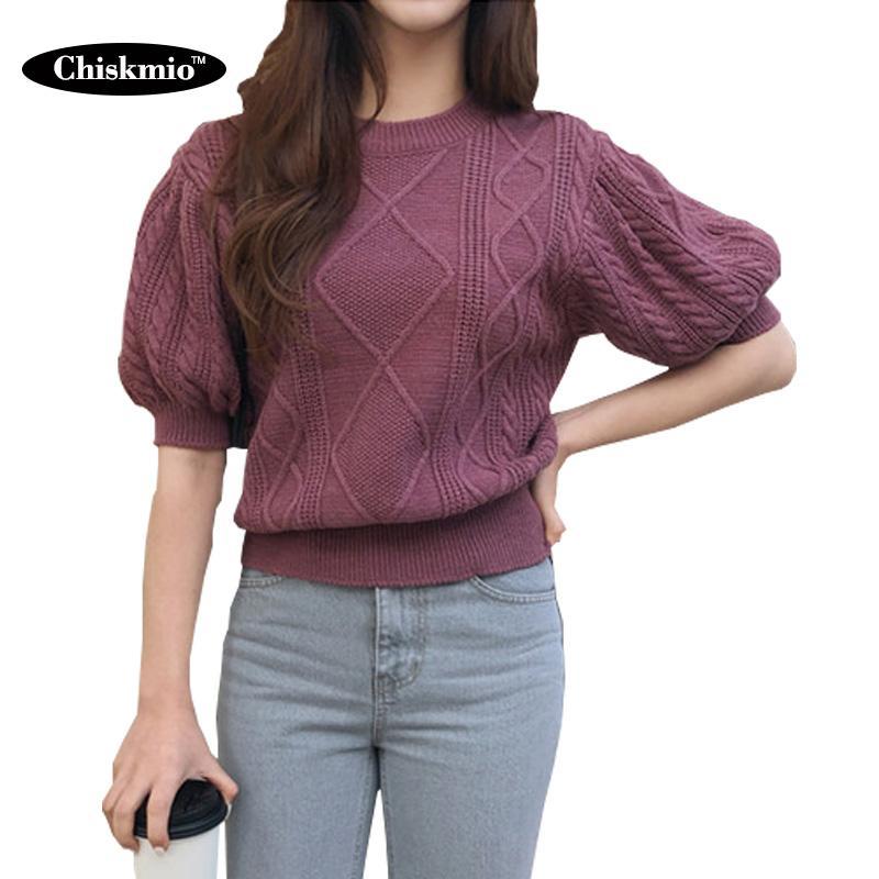Chiskmio 짧은 하프 슬리브 스웨터 여성 단색 니트 풀오버 수축 허리 O-넥 니트는 여성 두꺼운는 니트웨어 트위스트 탑