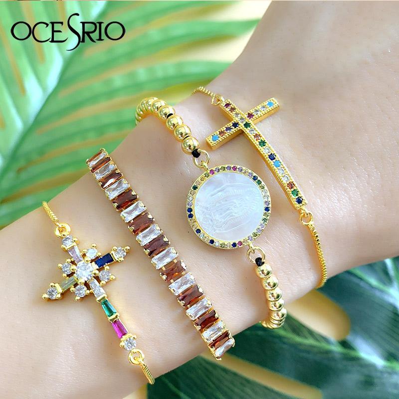 Bracelet Jésus Cross Pendentif Bracelets Coloré Cubic Zirconia Malirone Mal eye Fashion Bracelet Chaîne d'or pour femmes Déclaration Bijouterie BRT-B68