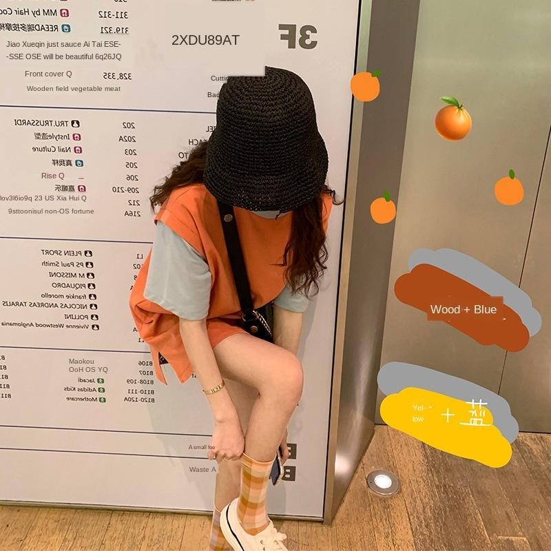 0pNgS T-shirt 190612 T-shirt laranja refrigerante correspondência de cores menina brincalhão-like contraste de cor falso de duas peças de manga curta T da forma