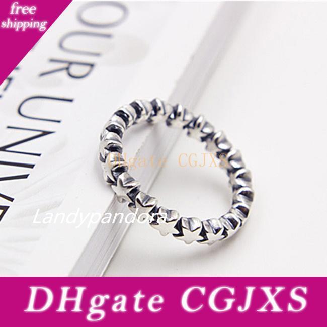 Кольцо способа 100% S925 стерлингового серебра Европейский Pandora Стиль Jewelry Charm Star Trail кольцо женщин кольцо