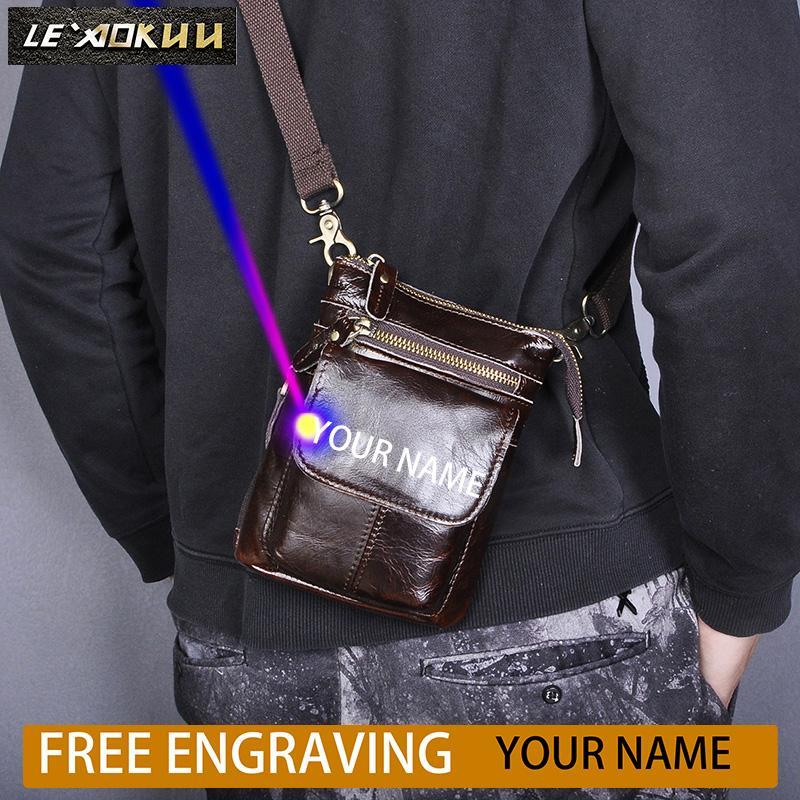 Echtes Leder-Männer Multifunktions-Design Kaffee Kleine Messenger Bag Fashion Fanny-Taillen-Gurt-Beutel-Satz Zigaretten-Etui 611-18-c