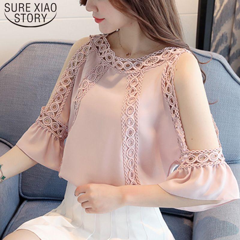 2019 femmes en mousseline de soie blouse blouses d'été des femmes de mode sexy chemise haut de l'épaule au large creux Hauts femmes et chemisiers 3470 50 Y200828