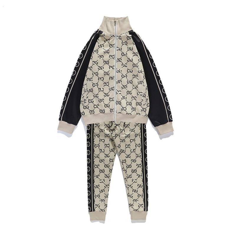 Mode Coton Sport Courir Ensembles Survêtements Hommes Costume Designers Vêtements de sport col montant Zipper Veste Cardigan survêtements