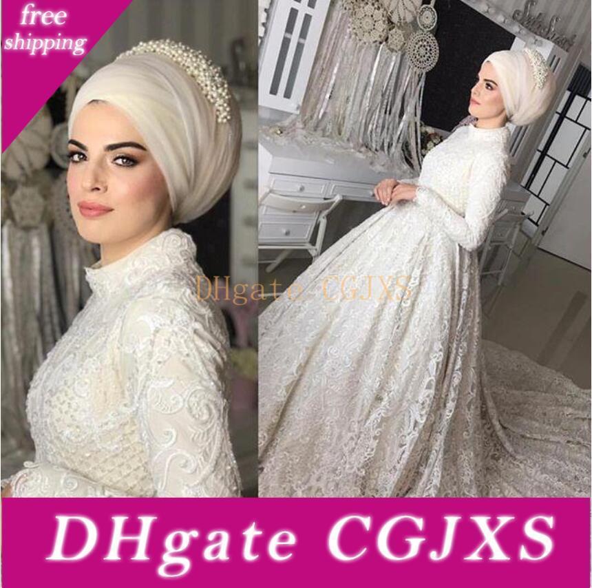 Splendida 2019 musulmana Abiti da sposa a collo alto con maniche lunghe in pizzo Appliques Dubai arabo Abiti da sposa A Line Wedding Dress Abiti da sposa