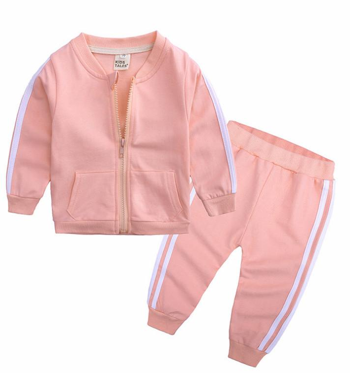 Baby Boys Girls Tracksuit 2 Piece Clothing Set Long Sleeve Zipper Jackets Coat Pants Trousers Outfits Casual Sport Autumn Sweatsuits LY814