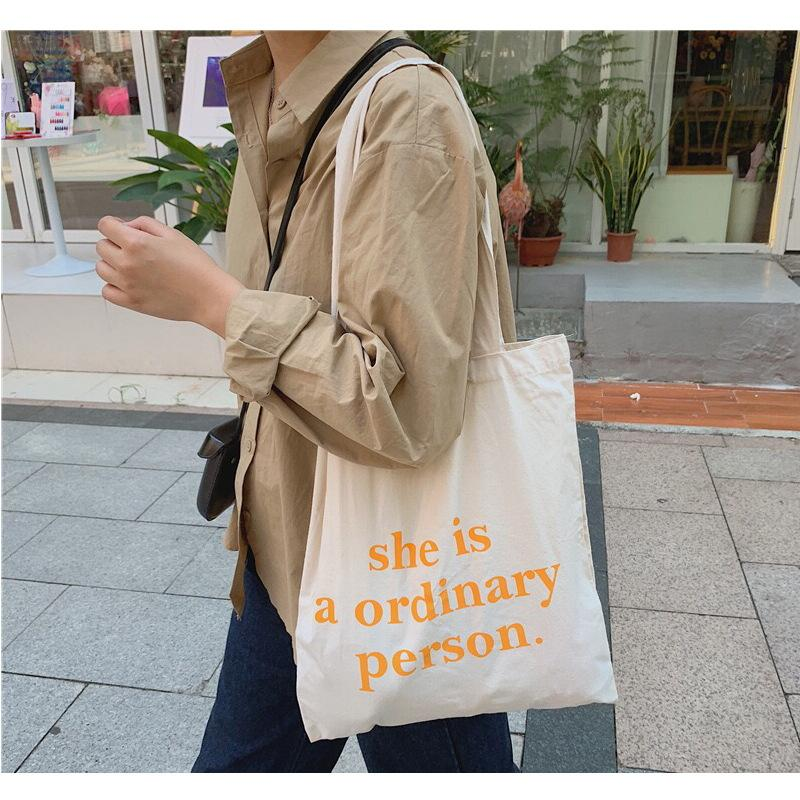 البرتقال رسائل التسوق حقيبة قماش للنساء مصمم الأزياء بسيطة المراهنات حقيبة الكتف قدرة كبيرة للمتسوقين التعامل مع ايكو حقيبة يد