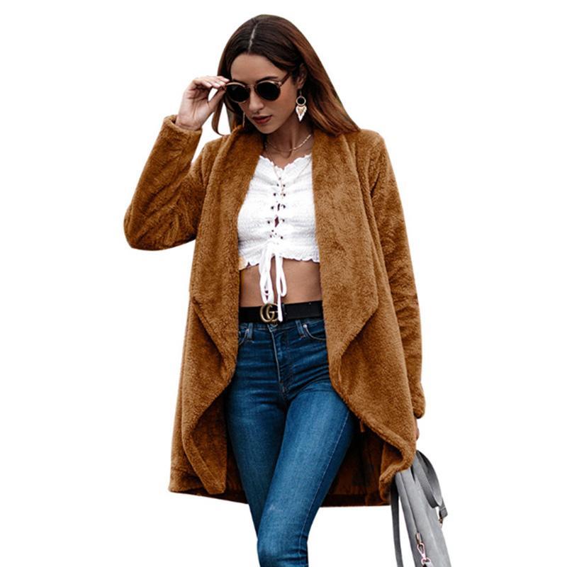 2020 Escudo Mujeres sólido de color mezcla de lana Jakcet nueva llegada caliente de manga larga de lana otoño invierno Outwear Señora mujer Camel Coats