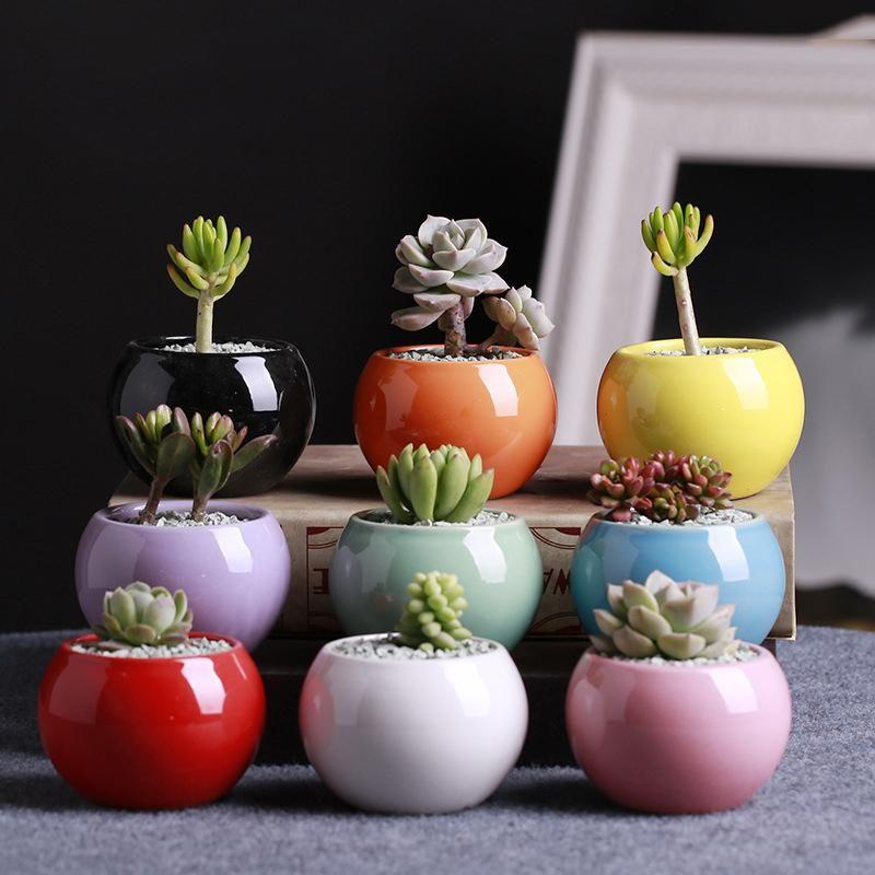 Flower Pot Moda vasos de cerâmica Suculentas bola redonda pequena Branco Porcelana Cor Branco Mini criativas 9 cores DHC1735