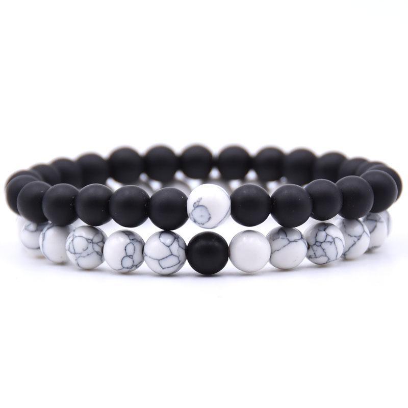 HOT 2Pcs / Set Casais charme Pulseira Pedra Natural branco e preto de Yin Yang frisados Pulseiras para as Mulheres Homens Best Friend