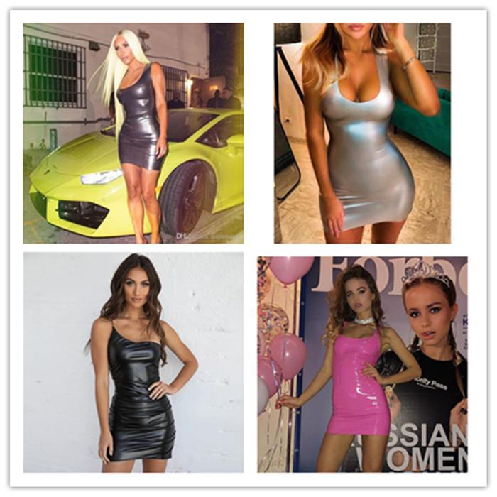 كيم كارداشيان مثير PU اللباس الصيف أزياء السيدات الهيئة غير الرسمية مطوي واحد كتف فساتين أنثى النادي الليلي الملابس