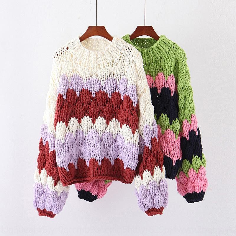 LTOyK JqN01 20SDP-6254 ropa suéter del estilo 2019 Otoño / medio cuello alto estilo suéter de invierno nuevas mujeres rayas mujer aguja gruesa para perezosos