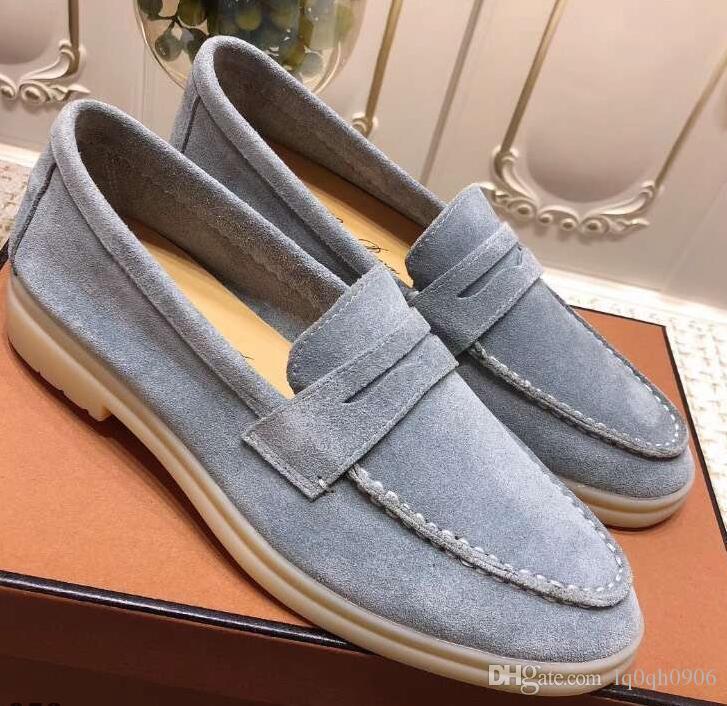 Les nouveaux hommes Loro cuir chaussures Marche en suède nubuck Homme Flats Slip-on chaussures robe taille 45 plus 46