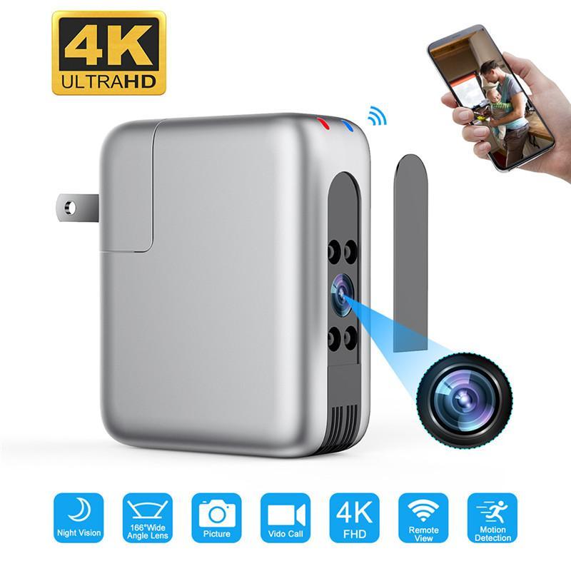 مصغرة واي فاي كاميرا كاميرا شاحن usb 166 عدسة واسعة 4 كيلو fhd لاسلكية IP كاميرا فيديو للرؤية الليلية الأمن فيديو مسجل مراقبة الحركة