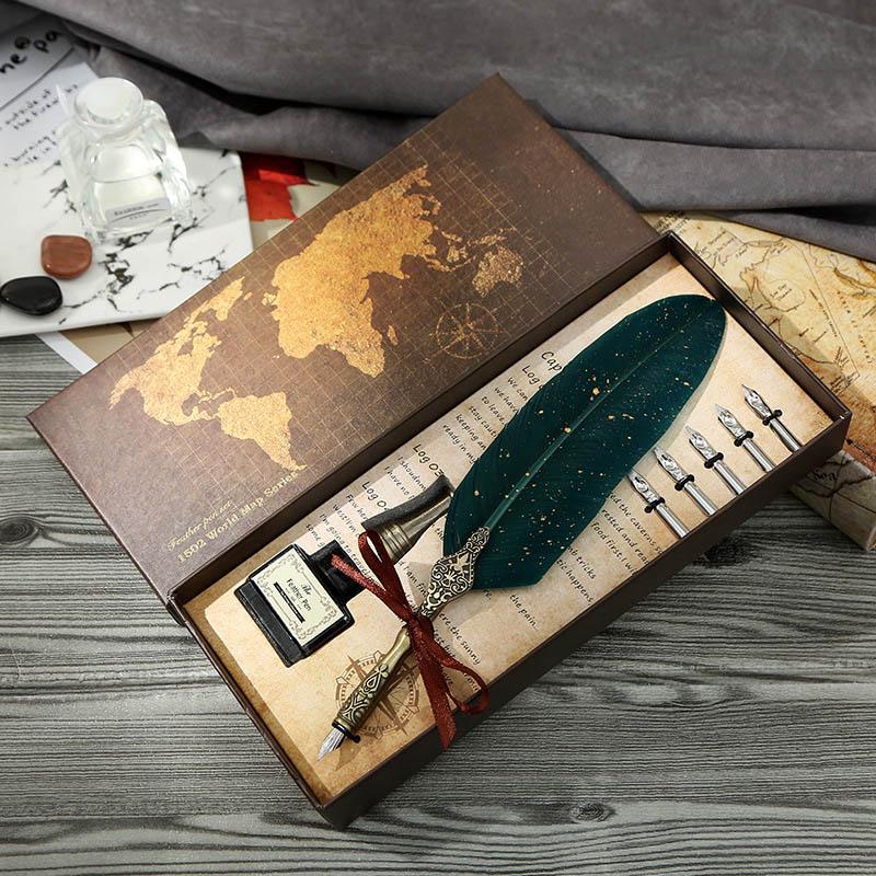 Luxus-Brunnen-Stift-Set-Weinlese, die Gold-Feder-Stift-Student-Kalligraphie-Schreiben von Tauch-Geburtstagsgeschenk 5 Nib-Quill