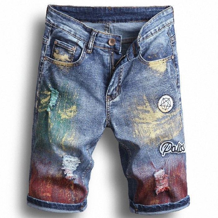 Los agujeros para hombre del nuevo verano pantalones cortos de mezclilla de moda Denim Jeans delgado Pantalones rectos tendencia de diseño pantalones masculinos yLsm #