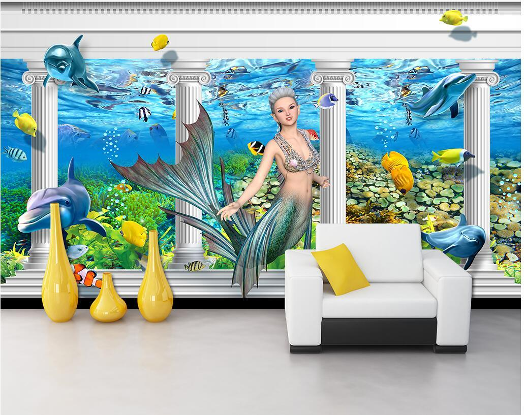 3D Wallpaper individuelle Fototapete Mermaid Dolphin Römische Spalte Palace Wohnzimmer Hauptdekoration 3D Wandmalereien Tapete für Wände 3 d