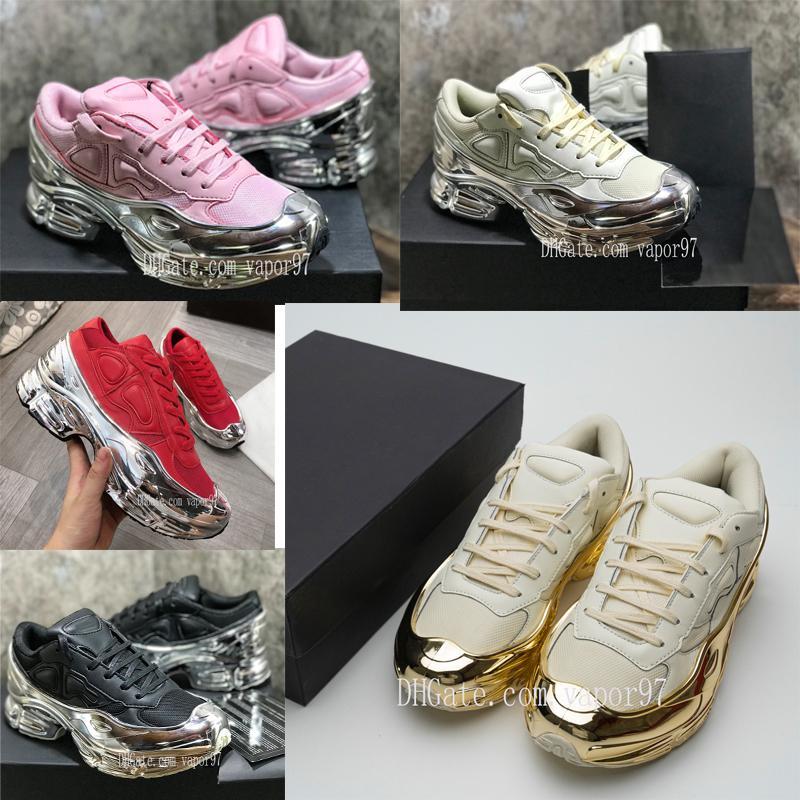 2 uomini scarpe Sneaekers Raf Simons oversize Sneaker Ozweego scarpe da donna in argento metallizzato effetto Sole RS Sport Trainer s2 con box