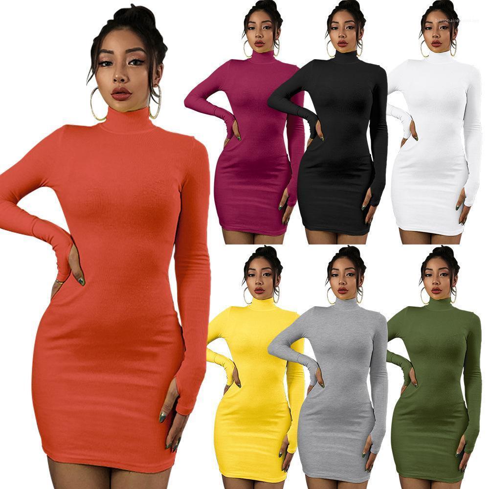 Farbe grundiert beiläufige Kleider Famale Kleidung Turtle Neck dünnes Kleid für Frauen Langarm-Fest