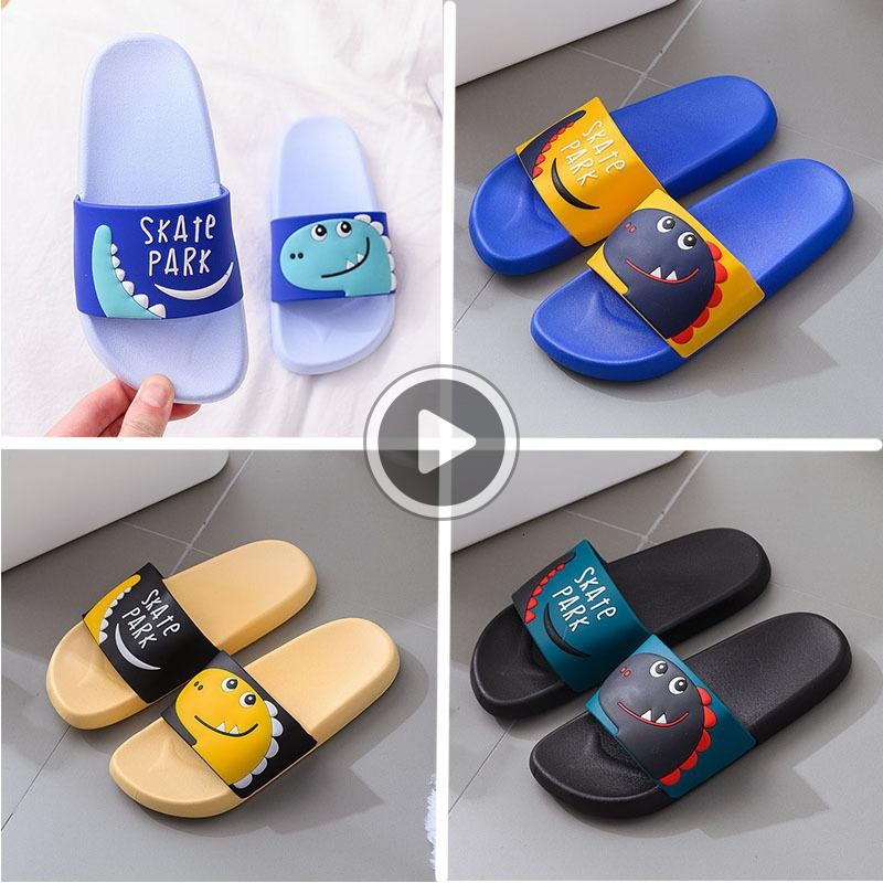 Best Home Kids Summer Slippers Pvc Children anti slip Cartoon Green Yellow Beach flip flops Women Men Black Blue Dener Shoes New Fashion