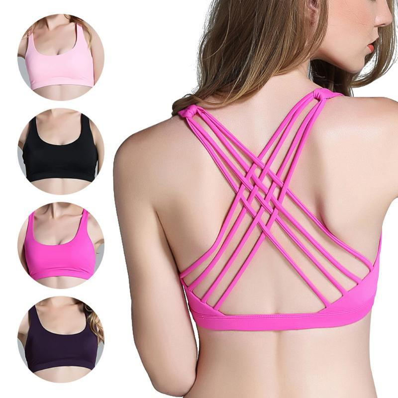 Gym Clothing Women Solid Seamless Stretch Sport Bra Fitness Tops Workout Yoga Sexy Backless Bralette Push UP Breathable Padded Bras
