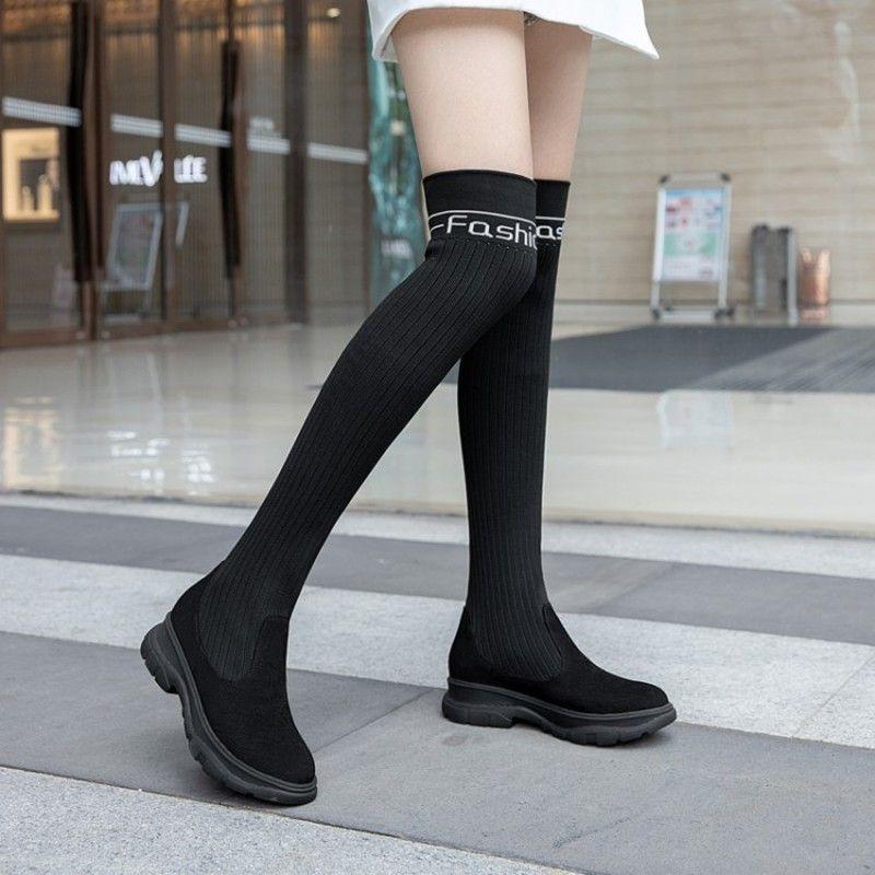 여성 양말 부츠 이상의 탄성 뜨개질 긴 짧은 여성 가을에 무릎 부츠 라운드 발가락 블록 중간 굽 슬립